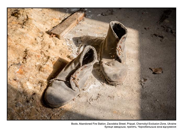 Boots. Abandoned Fire Station, Zavodska Street, Pripyat, Chernobyl Exclusion Zone, Ukraine