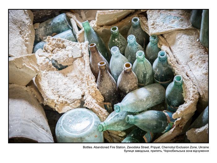 Bottles. Abandoned Fire Station, Zavodska Street, Pripyat, Chernobyl Exclusion Zone, Ukraine