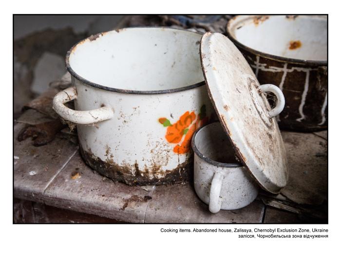 Cooking items. Abandoned house, Zalissya, Chernobyl Exclusion Zone, Ukraine