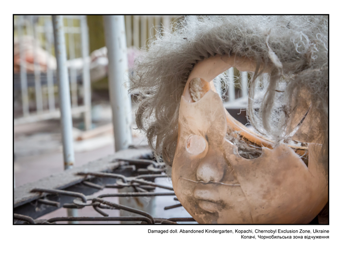 Damaged doll. Abandoned Kindergarten, Kopachi, Chernobyl Exclusion Zone, Ukraine