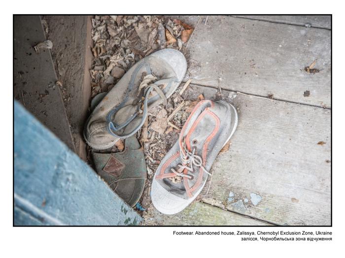 Footwear. Abandoned house, Zalissya, Chernobyl Exclusion Zone, Ukraine