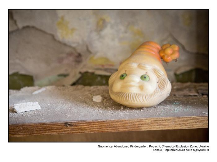 Gnome toy. Abandoned Kindergarten, Kopachi, Chernobyl Exclusion Zone, Ukraine