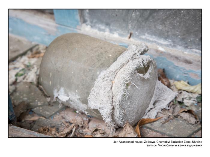 Jar. Abandoned house, Zalissya, Chernobyl Exclusion Zone, Ukraine