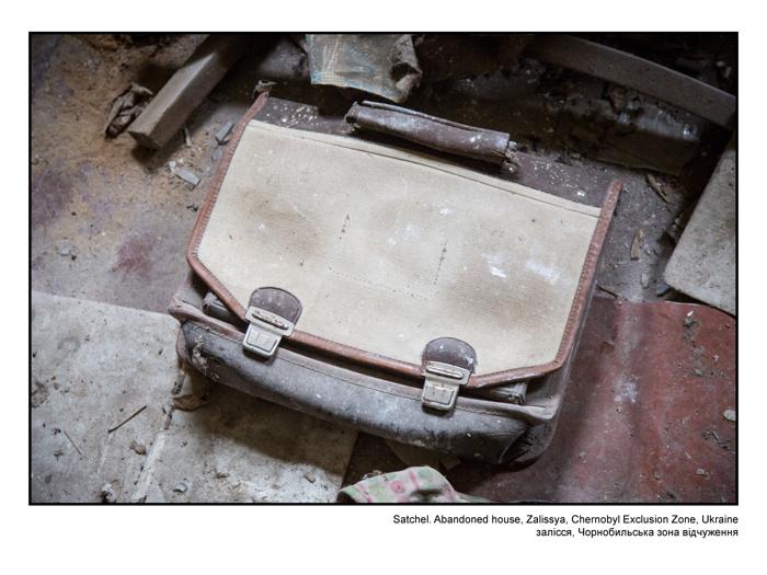 Satchel. Abandoned house, Zalissya, Chernobyl Exclusion Zone, Ukraine